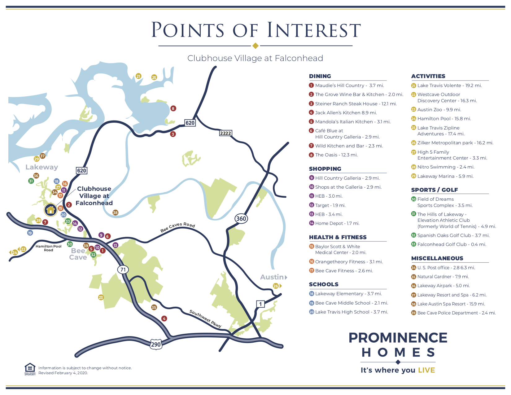 falconhead points of interest map